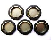 Japanese Door Pulls - Sliding Door Pulls - Pocket Door Pulls - Japanese Vintage Door Pulls -  Flower  black silver Set of 5 small (C27)