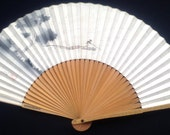 Japanese Hand Fan - Vintage Paper Fan -  Sensu - Vintage Japanese Fan -  Cream Gold Black Gray Lumber Timber Floating (F173)