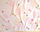 Vintage Japanese  Furoshiki - Japanese Wrapping Cloth - Japanese Fabric - Vintage Fabric -  Chrysanthemums Plum Blossoms Soft Pink W22