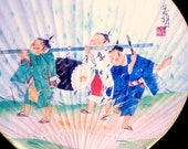 Japanese Paper Paddle Fan - Uchiwa - Vintage Fan - Japanese Fan - Hand Fan - Rigid Fan - Japanese Vintage - Kids Marching Band Temple