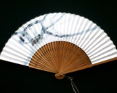 Japanese Hand Fan - Vintage Fan - Japanese Paper Fan - Mai Ogi -  Sensu (F206) Traditional Japanese Design Bluish Gray Bronze Brown