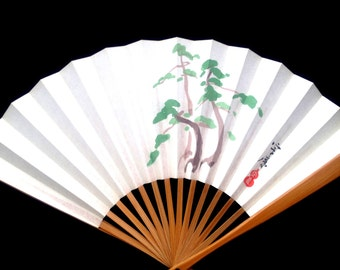 Pine Japanese Hand Fan Vintage Paper Ogi Sensu (F103) Small Size