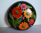 Vintage Jewelry Box / Russian Hand Painted Floral Lacquer Wooden Jewelry Box Bowl / Keepsake Box / Russian Folk Art