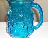 "Vintage Rain Flower Pattern Pitcher in the Laser Blue Anchor Hocking 10"" tall"