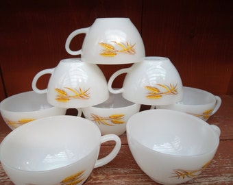 Vintage Fire King Golden Wheat White Milk Glass Cups Mugs Set of 8