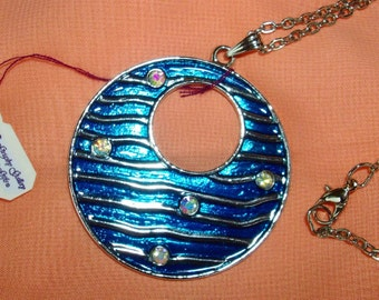 OCEAN DISK Necklace, Waves, Sparkel Rhinestones, Enamel disk, Silver tone, Long chain, RedRobinArt, Grigsby Gallery