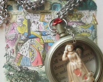 Alice In Wonderland Inspired Vintage Queen of Hearts Antique Pocket Watch Assemblage Necklace
