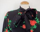 Neck Tie Blouse Vintage Black Floral Print