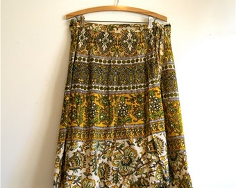 Bohemian Wrap Skirt 1970's - Vintage Cotton