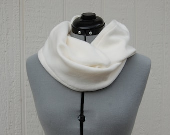 Solid Light Cream Infinity Fleece Scarf