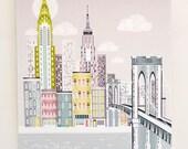 New York, Manhattan, Brooklyn Bridge, Small Canvas Mounted Framed Print Skyline Poster, Empire State Building, Chrysler Building, SCNYBB1