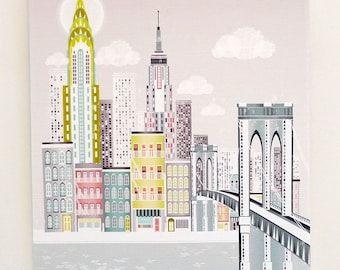 Brooklyn Bridge Print, New York Poster, Small Canvas Mounted Framed Print Skyline Poster, Empire State Building, Chrysler Building, SCNYBB1