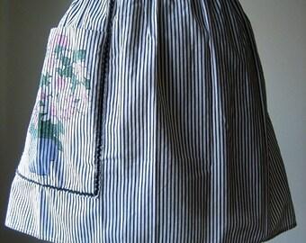 APRON Kitchen Pinafore Cook Skirt Cover Vintage Cotton BLUE Ticking Stripes