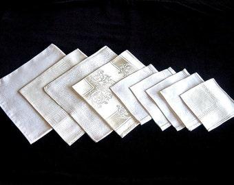 DAMASK NAPKIN LOT mixed linen 9 piece assorted fine tablecloth napkins