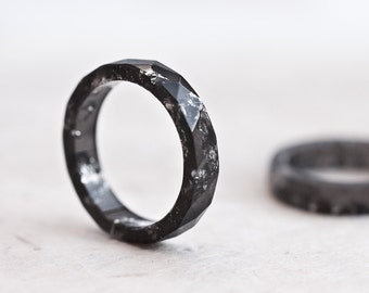 Resin Stacking Ring Black Silver Flakes Small Faceted Ring OOAK dark minimal chic minimalist eco jewelry