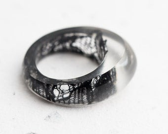 Black Lace Resin Ring Oval Oblong Smooth Ring OOAK french vintage lace gothic eco friendly resin jewelry