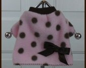 Pink and Brown Dots Cuddle Fleece Dog Shirt Clothes Size XXXS through MEDIUM by Doogie Couture