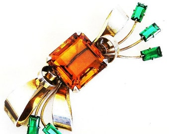Retro Sterling Topaz and Emerald Glass Bow Brooch