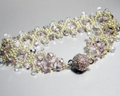 "READY TO SHIP Lavender Silver Czech Fire Polish Bracelet Beadweaving ""Fairy Princess"""