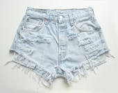 "ALL SIZES ""PLAINO2"" Vintage high-waisted denim shorts light blue white distressed frayed jeans"