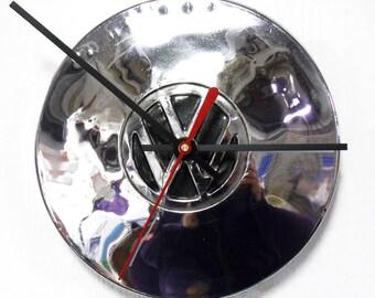 Volkswagen Hubcap Clock - VW Wall Clock with Black Center - Volkswagon