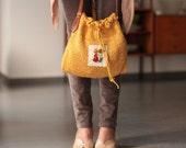 HipBag---Cotton----yellow---Embroidery-Mustard yellow-women-Summer- Brown leather strap-Chrsitmas gift---Gift under 90 USD