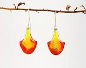 Eruption - pieces of lava shield enameled earrings, formed copper enameled yellow and orange on sterling earwires
