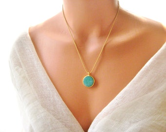 22K gold plated chain necklace with blue/green Jade stone in gold plated frame, bridesmaid, graduation, birthday, mother's day