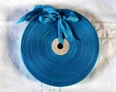 Vintage 1930's-40's French Woven Ribbon -Milliners Stock- 5/8 inch Peacock Blue