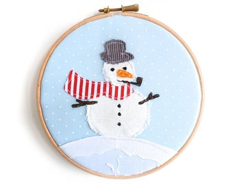 Christmas Decoration Embroidery Hoop - Snowman