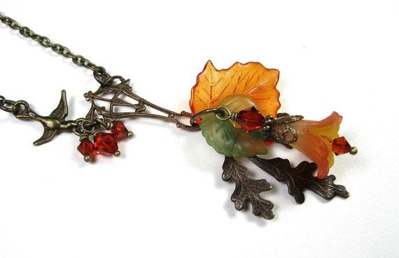 Vintaj Brass, Vintage Style Necklace, Pendant Necklace, Orange, Yellow, Green, Romantic Jewelry, Womens Accessories, Swarovski Crystal