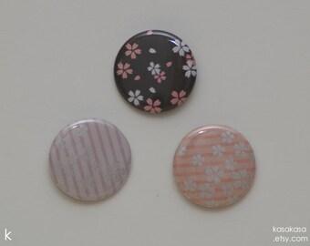Sakura Flower Pattern Origami Button / Magnet Set of 3 - Pink