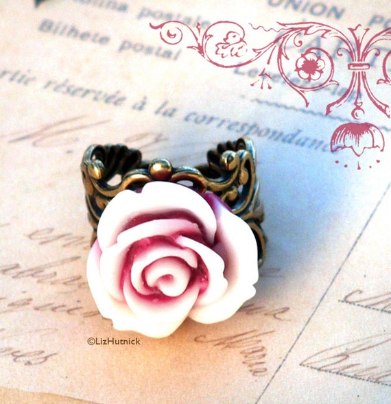 Peppermint Rose Ring. Thick Brass Filigree Ring. Adjustable Ring. Cocktail Ring
