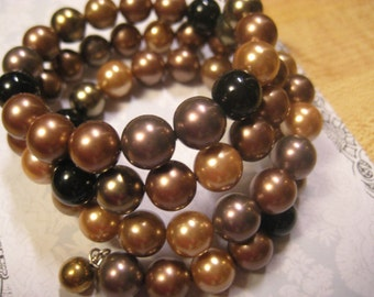 HANDMADE Beautiful Wrap BRACELET of 10 mm South Pacific Shell PEARLS in Chocolate Browns and Gold
