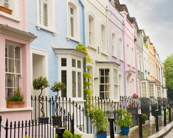 London Photography - Colorful Houses, Chelsea, London, England, Architecture Travel Photo, Large Wall Art, Pastel Home Decor