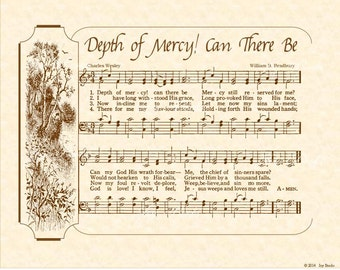 DEPTH OF MERCY! Can There Be - 8x10 Antique Hymn Vintage Verses Sheet Music Natural Parchment Sepia Brown Ink God Is Love Charles Wesley