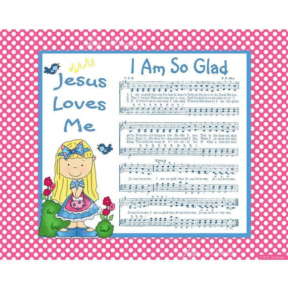 I Am So Glad That JESUS Loves Me - 8x10 Printable Instant Art DIY Jpg Digital Download Children Hymn Cute Girl Hot Pink White Blue Polka Do