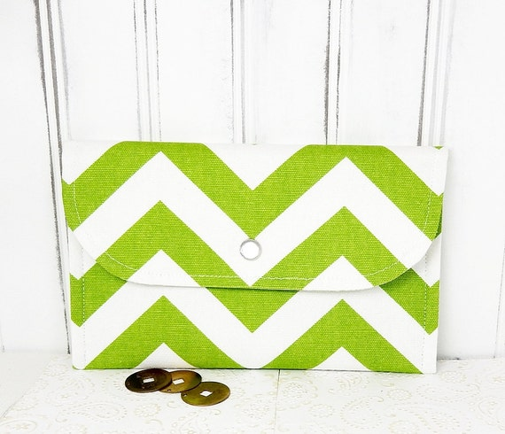 Chevron Wallet for cards and cash  zigzag stripes chartreuse green