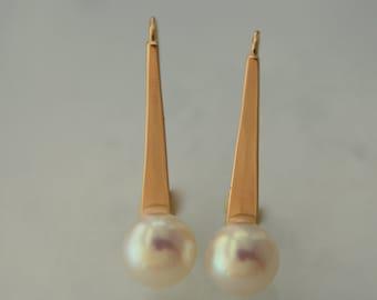 Pearl Drop Earrings in 14k Gold, Handmade in Maine