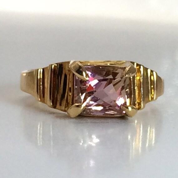 Modern Rectangular Bi-Color Maine Tourmaline 14k Gold Ring, Handmade in Maine