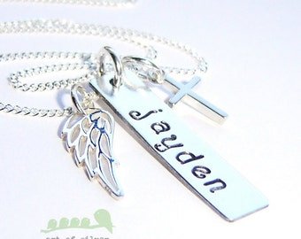Baptism necklace - Confirmation necklace - Personalized necklace - Handstamped charm jewelry - Cross - Angel wing charms