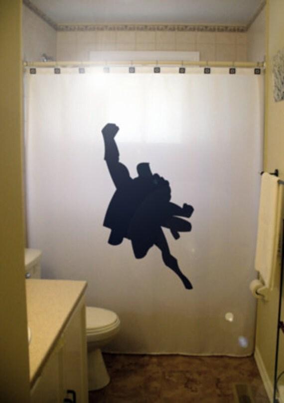 Flying super hero man kid shower curtain by for Superhero shower curtain