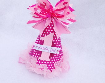 All About Pink Birthday Party Hat in raspberry, bubblegum and taffy pinks