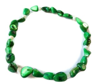 Shell ankle bracelet stretch anklet green tropical shells sparkly beachy summer foot jewelry