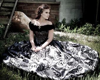 CUSTOM Gothic Victorian Civil War Steampunk Ball Gown Dress in flocked taffeta