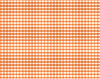 Orange Small Gingham Fabric by Riley Blake Designs - Half Yard - 1/2 Yard - C440-60