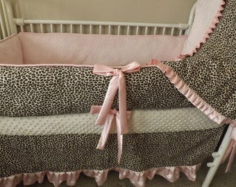 Pink satin and Brown Leopard  Baby bedding Crib set
