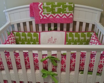 HOt pink and lime Giraffe Baby bedding Crib set DEPOSIT