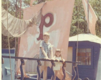 Pirate Ship Summer Beach Vacation Brother Sister Boy Girl 1965 Spartanburg SC South Carolina Vintage Color Photo Photograph