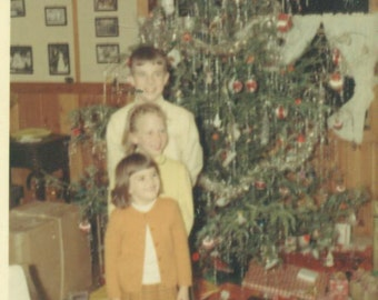 Siblings Kids Posing For Picture By the Christmas Tree 1967 SC Vintage Color Photo Photograph